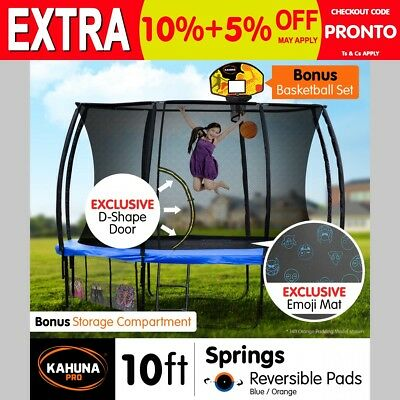 10ft Trampoline Free Safety Net Spring Pad Cover Mat Ladder Bonus Basketball Set