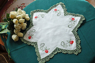 Chic Green Hand Crochet Lace Strawberry Embroidery Star Shape Cotton Doily