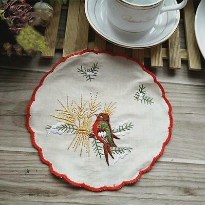 Vintage Style Chic Red Thread Border Bird Embroidery Round Cotton Doily CL