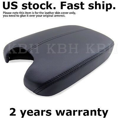 Armrest Center Console Lid Cover Leather Synthetic For 08-12 Honda Accord Black