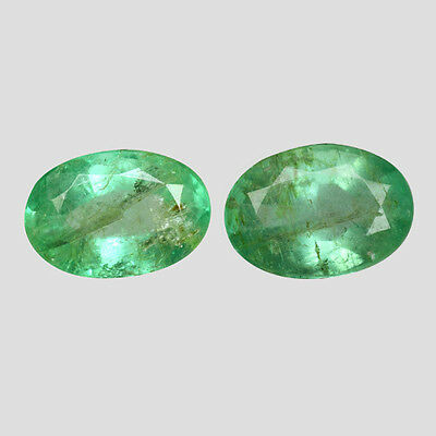 """PAIR! 1.71cts Green Oval Emerald Natural Color Stones """"SEE VIDEO"""""""