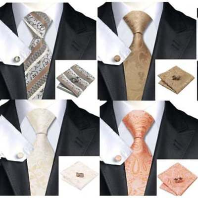 Mens Premium 100% Silk Wedding Tie Pocket Square Cufflink Gold Cream Ivory Sets
