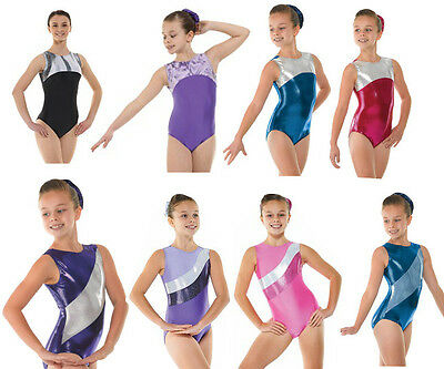 Metallic Lycra Shine Girls Gymnastics Sleeveless Leotard Gym Dancewear Age 4-12