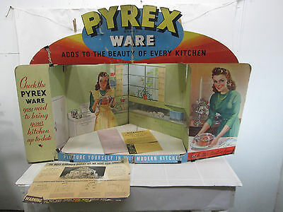 1943 Pyrex Brand Ware Cardboard Store Display