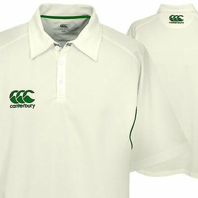 NEW Mens CANTERBURY CLUB CRICKET SHIRT Top Jersey Whites CCC Clothing Adults Kit