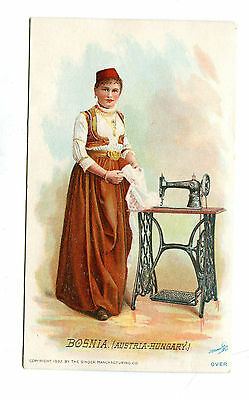 Victorian Trade Card SINGER SEWING MACHINE 1892 BOSNIA national costume