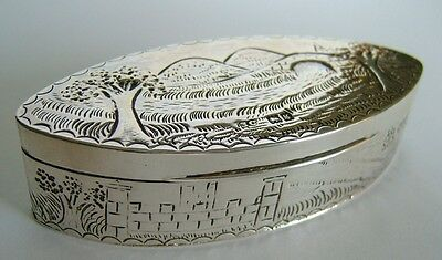 Good Quality, Antique Edwardian English Sterling Silver, Picture Top, Snuff Box
