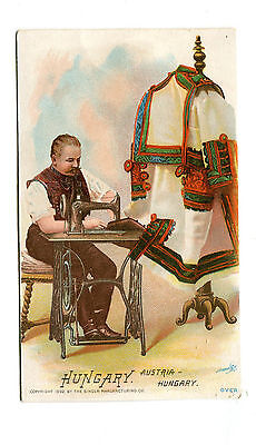 Victorian Trade Card SINGER SEWING MACHINE 1892 HUNGARY national costume