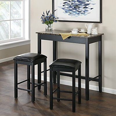 Cozy Space Saving 3-Pc Marble Style Bar Table & Faux Leather Padded Stools Set