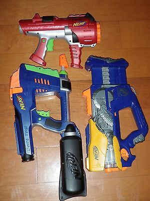 Lot Of 3 NERF Dart Guns MAGSTRIKE FIREFLY REV-8 DART TAG 10 SHOT ( TESTED )