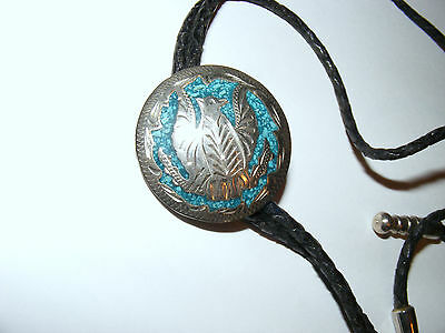 ARTISTIC Bolo Tie- marked: ALPACA MEXICO on back...DONE WITH LEATHER BRAIDING