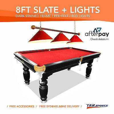 8Ft Red Slate Pool Snooker Table + Red Metal Light Free Syd Mel Bne Metro Post