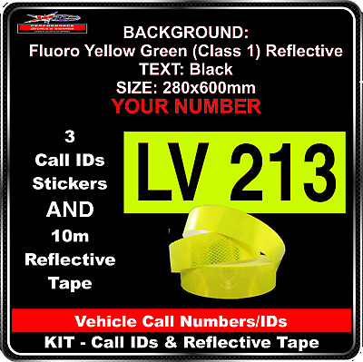 Hi Vis Light Vehicle Call Number/ID Class 1 (FYG/Black) Kit - 3Sticker &10m Tape