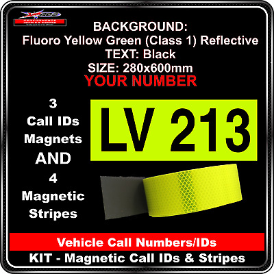 Hi Vis Light Vehicle Call Number/ID Class 1 (FYG/Black) Kit - 3Magnets &4 Stripe
