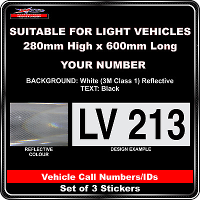 Hi Vis Light Vehicle Call Number/ID Class 1 (White/Black) - 3 Sticker