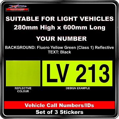 Hi Vis Light Vehicle Call Number/ID Class 1 (Fluoro YellowGreen/Black)- 3Sticker