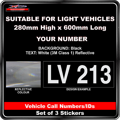 Hi Vis Light Vehicle Call Number/ID Class 1 (Black/White) - 3 Sticker