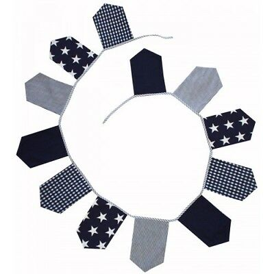 LACHLAN BLUE COTTON BUNTING PARTY DECOR FLAGS PENNANT BANNER - 12 Flags **NEW**