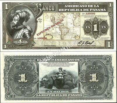 "New Panama Large Size ""series Of 1918A"" 1 Balboa Fantasy Art Note By Reed Bnc!"
