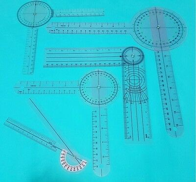 5 PIECE SPINAL GONIOMETER PROTRACTOR RULER 360 DEGREE Set 12 inch 8 inch 6 inch