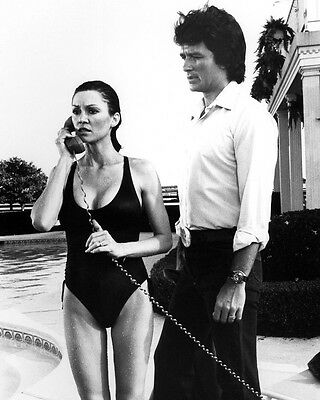 Dallas Patrick Duffy Victoria Principal swimsuit phone Southfork pool 8x10 Photo