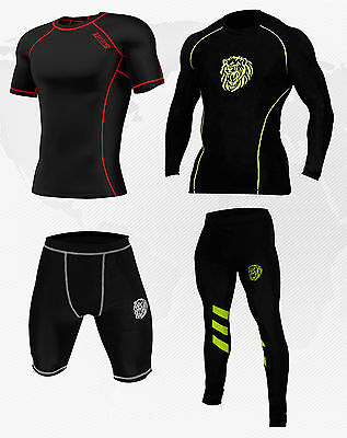 Mens Compression Armour Base layer Athletic wear Top, tights, shorts Gym running