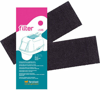 Ferplast Replacement Active Carbon Filter Absorbs Smells from Covered Cat Trays