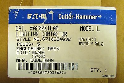 EATON CUTLER HAMMER A200 Model L Size 1 Lighting Contactor 110/120V 5P A202K1EAM