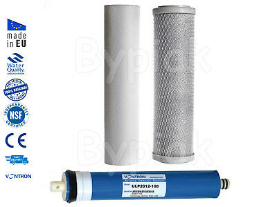 3 Stage Reverse Osmosis RO Unit Complete Filters Replacement & 100GPD Membrane
