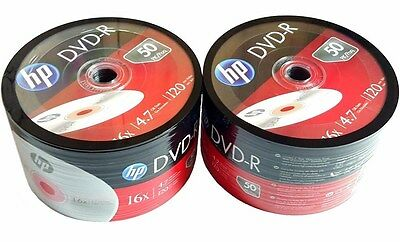 100 HP Blank DVD-R DVDR  Logo Branded 4.7GB 16X 120Min Media Disc