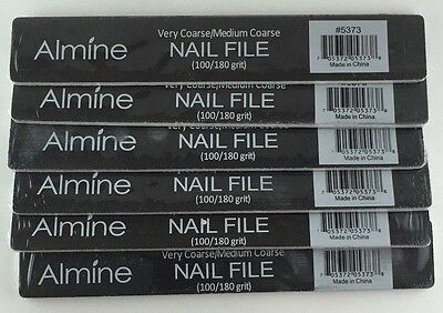 Brand New Lot Of 6 Almine Very Coarse/medium Coarse 100/180 Grit Nail File #5373