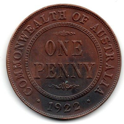 1922 AUSTRALIAN PENNY (1d) - ***  gVF CONDITION  ***  7-8 PEARLS JOINED