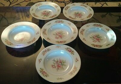 Noritake Rose China Made In Occupied Japan Set Of 6 Soup Plates Q33