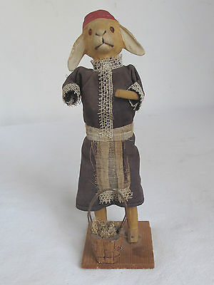 Antique Dressed Easter Rabbit Composition, Cloth and Wood