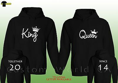 Couple Custom Made Hoodie - Together Since King And Queen - NEW Matching Hooded