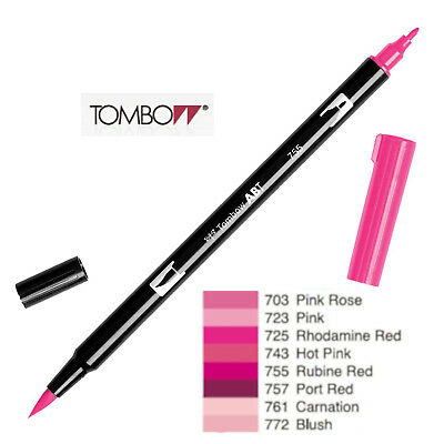 Tombow Dual Brush Pen  ABT 703 to 772  Red Violet shade
