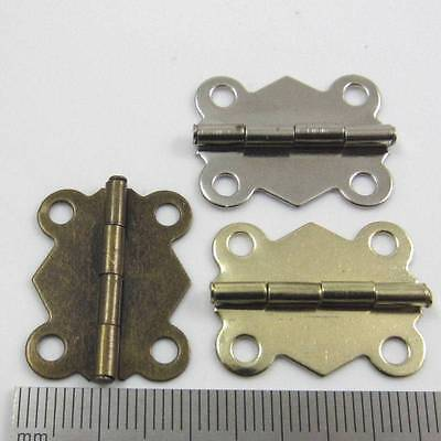 10 PLATED MINIATURE HINGES HARDWARE 19x24mm SMALL DOLLHOUSE JEWELLERY BOX CIGAR
