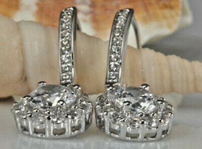 Real 1.99 Ct Round Eternity Drop Dangle Diamond Earring 14k Solid White Gold