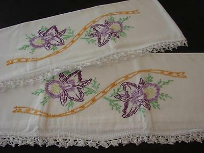 Pr Vintage Pillowcases Hand Embroidered Iris Jonquils Daffodils Crocheted Trim
