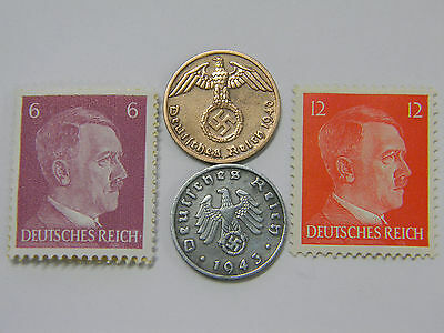 Rare Very Old Antique Vintage WW2 Nazi Swastika Coin Stamp Hitler Collection Lot