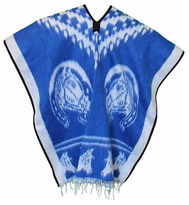 HEAVY BLANKET Mexican PONCHO - COWBOY 7 Royal Blue - ONE SIZE FITS ALL Gaban