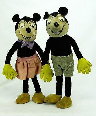 Vintage Deans Mickey and Minnie Mouse Dolls ca1930