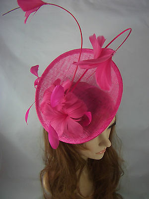 Fuchsia Statement Curve Saucer Fascinator With Feather Flowers - Wedding Races