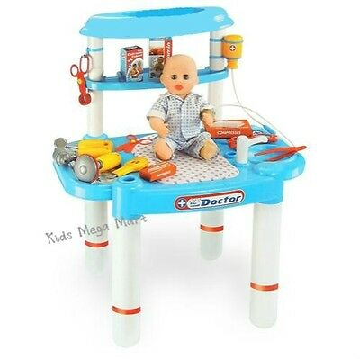 Little Doctor Pretend Fun Play Set with Table and Medical Accessories New