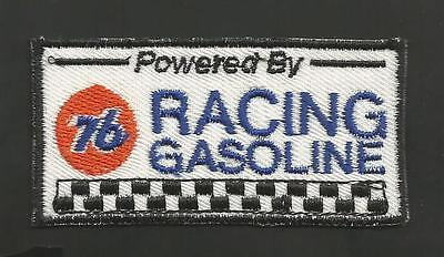 """Powered By Union 76 Racing Gasoline   1 1/2 X 3"""" Patch   White"""