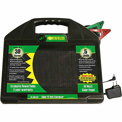 Powerfields 30 Acre Solar Electric Fence Charger Energizer .5 Joules Ships Free