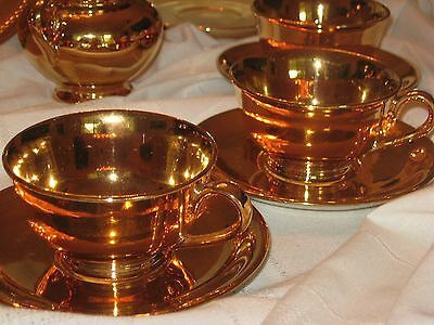 Vintage Dessert Set 16 Pcs Cups Plates Imperial China All Over Gold 22 Kt