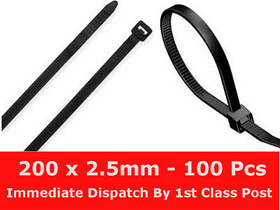 100 x Cable Ties Tidies Zip Ties 200mm x 2.5mm Black Nylon Exceptional Quality