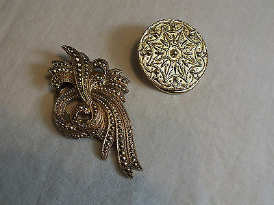 Beautiful Collectible Gold Tone Scarf Clip Set 2 Ornate Textured Stunning WOW