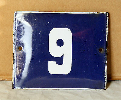 VINTAGE 60`s COBALT BLUE PORCELAIN ENAMEL SIGN PLATE STREET HOME DOOR NUMBER 9 -